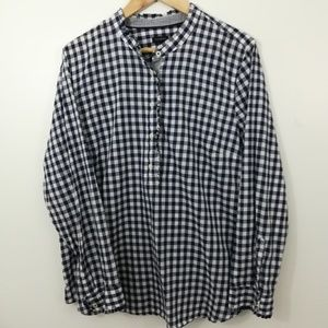 Talbots Gingham Popover Blouse Size XL Navy Blue